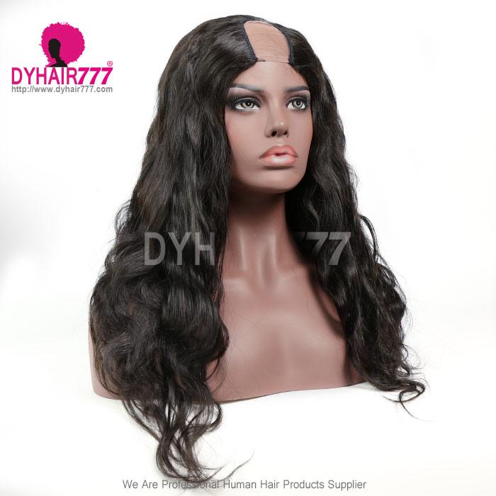 130% Density #1B Virgin Human Hair U Part Wigs Body Wave Lace Front Wig