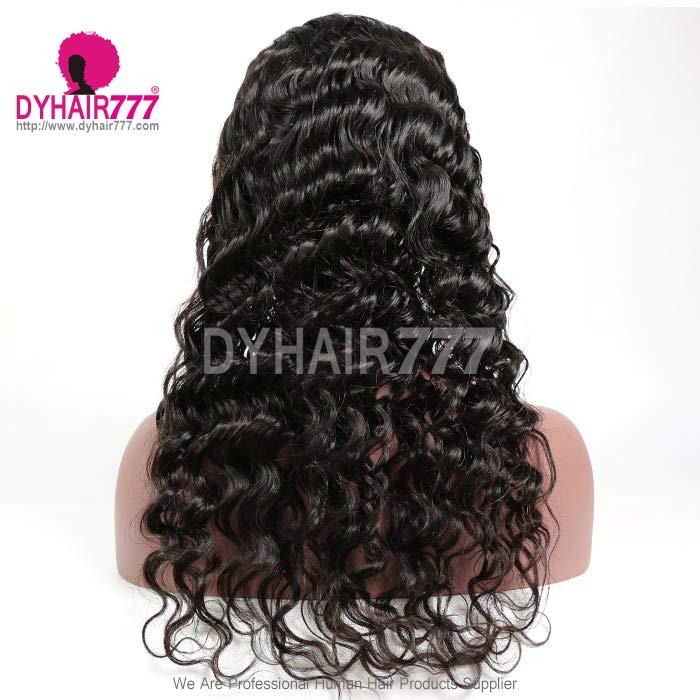 130% Density #1B Virgin Human Hair U Part Wigs Loose Wave Lace Front Wig