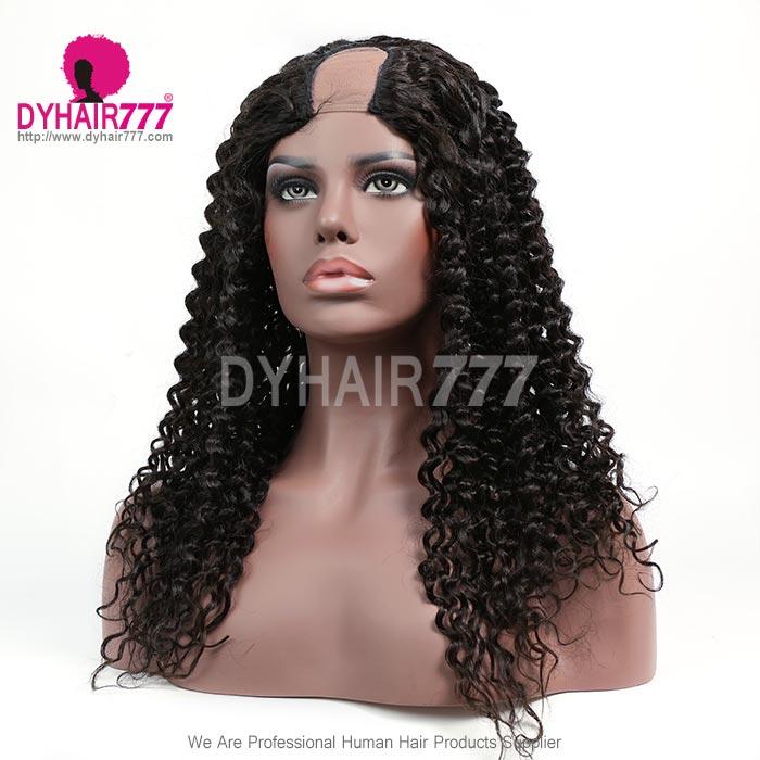 130% Density #1B Virgin Human Hair U Part Wigs Deep Curly Lace Front Wig
