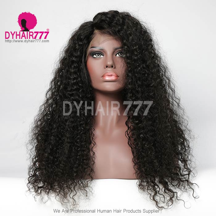 180% density Top Quality Virgin Human Hair Jerry Curly Lace Front Wigs