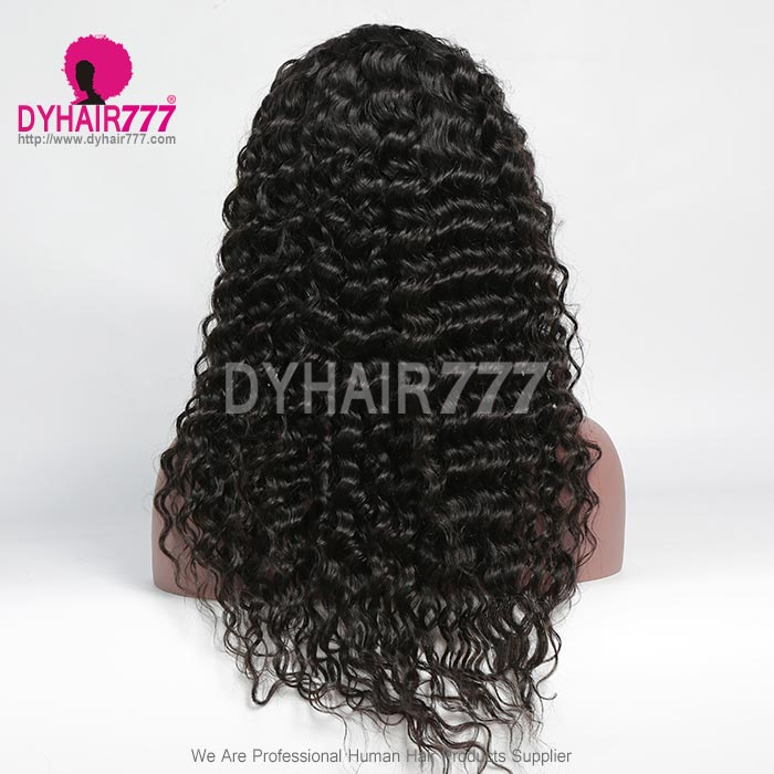 130% Density 1B# Top Quality Virgin Human Hair Deep Wave Full Lace Wigs Natural Color