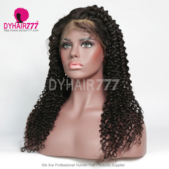 130% Density 1B# Top Quality Virgin Human Hair Deep Curly Full Lace Wigs Natural Color