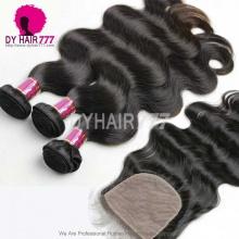 Best Match 4*4 Silk Base Closure With 3or4 Bundles Brazilian Body Wave Royal Virgin Human Hair Extensions