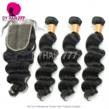Best Match Top Lace Closure With 3 or 4 Bundles Burmese Loose Wave Standard Virgin Human Hair Extensions