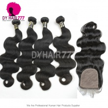 Best Match 4*4 Silk Base Closure With 4 or 3 Bundles Royal Virgin European Body Wave Human Hair Extensions