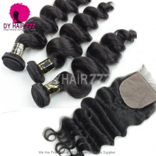 Best Match 4*4 Silk Base Closure With 3 or 4 Bundles European Loose Wave Royal Virgin Human Hair Extensions