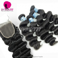 Best Match Top Lace Closure With 4or3 Bundles Royal Virgin Peruvian Loose Wave Human Hair Extensions