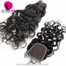 Best Match 4*4 Top Lace Closure With 3 or 4 Bundles Mongolian Natural Wave Standard Virgin Human Hair Extensions