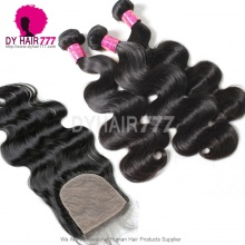 Best Match 4*4 Silk Base Closure With 3 or 4 Bundles Malaysian Body Wave Royal Virgin Human Hair Extensions