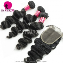 Best Match Top Lace Closure With 3 or 4 Bundles Malaysian Loose Wave Royal Virgin Human Hair Extensions