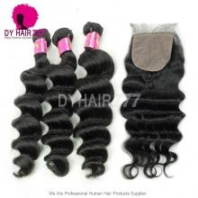 Best Match 4*4 Silk Base Closure With 3or4 Bundles Malaysian Loose Wave Royal Virgin Human Hair Extensions