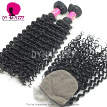 Best Match 4*4 Silk Base Closure With 3or4 Bundles Malaysian Deep Curly Royal Virgin Human Hair Extensions