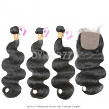 Best Match 4*4 Silk Base Closure With 3 or 4 Bundles Royal Burmese Virgin Body Wave Hair Extension