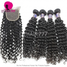 Best Match Top Lace Closure With 3or4 Bundles Cambodian Deep Curly Standard Virgin Human Hair Extensions