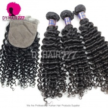 Best Match 4*4 Silk Base Closure With 3 or 4 Bundles Cambodian Deep Curly Standard Virgin Human Hair Extensions