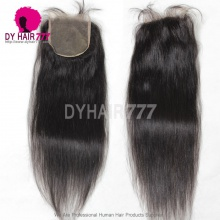 5* 5 Lace Top Closure Straight Hair Natural Color Virgin Human Hair Swiss lace
