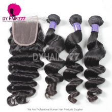 Royal 3 or 4 Bundles Cambodian Virgin Hair Loose Wave With Top Lace Closure Hair Weft Best Match