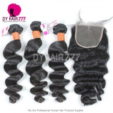 Best Match Top Lace Closure With 3 or 4 Bundles Loose Wave Burmese Virgin Hair Royal Grade