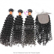 Best Match 4*4 Silk Base Closure With 3 or 4 Bundles Royal Burmese Virgin Deep Curly Hair Extension