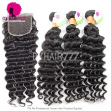 Best Match Top Lace Closure With 3 or 4 Bundles Indian Deep Wave Standard Virgin Human Hair Extensions