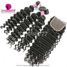 Best Match Top Lace Closure With Royal 3 or 4 Bundles Brazilian Deep Wave Hair Extensions