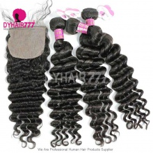 Best Match 4*4 Silk Base Closure With 3 or 4 Bundles Royal Virgin Remy Hair Brazilian Deep Wave Hair Extensions