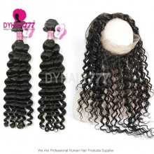 Royal Grade 2 or 3 Bundles Virgin Brazilian Deep Wave With 360 Lace Frontal Hair Extensions