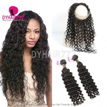 Royal Grade 2 or 3 Bundles Virgin European Deep Wave With 360 Lace Frontal Hair Extensions