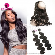 Royal Grade 2 or 3 Bundles Virgin European Body Wave With 360 Lace Frontal Hair Extensions