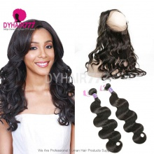 Royal Grade 2 or 3 Bundles Virgin Cambodian Body Wave With 360 Lace Frontal Hair Extensions