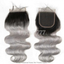 Lace Top Closure (4*4) Body Wave 1B/Grey Human Virgin Hair