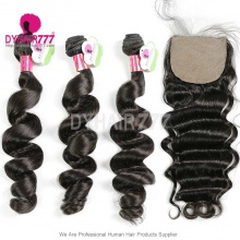Best Match 4*4 Silk Base Closure With 3or4 Bundles Malaysian Loose Wave Standard Virgin Human Hair Extensions