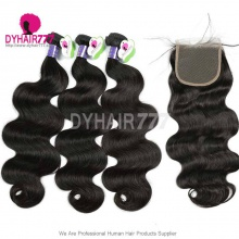 Best Match Top Lace Closure With 4 or 3 Bundle Standard Virgin Hair Cambodian Body Wave Human Hair Extenion