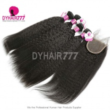 Best Match Royal 3 or 4 Bundles Brazilian Virgin Hair Kinky Straight With 4*4 Top Lace Closure Hair Extensions