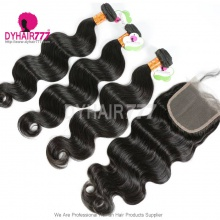Best Match Top Lace Closure With 4 or 3 Bundles Standard Virgin Hair Indian Body Wave Human Hair Extenions