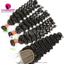 Best Match Royal 3 or 4 Bundles Burmese Virgin Hair Deep Wave  With Top Lace Closure Hair Extensions