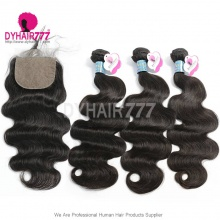 Best Match 4*4 Silk Base Closure With 3or4 Bundles Peruvian Body Wave Royal Virgin Human Hair Extensions
