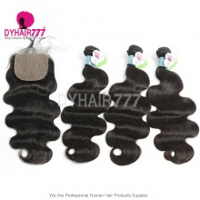 Best Match 4*4 Silk Base Closure With 3 or 4 Bundles Standard Virgin Hair Peruvian Body Wave Human Hair Extenions