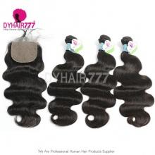 Best Match 4*4 Silk Base Closure With 3or4 Bundles Standard Virgin Hair Peruvian Body Wave Human Hair Extenions