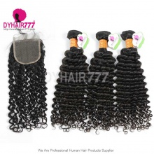 Best Match Top Lace Closure With 3 or 4 Bundles Indian Deep Curly Standard Virgin Human Hair Extensions