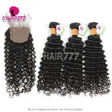 Best Match 4*4 Silk Base Closure With 4or3 Bundles Indian Deep Curly Standard Virgin Human Hair Extensions