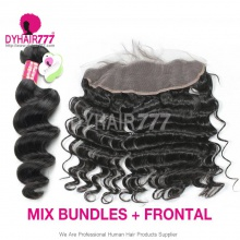 Lace Frontal With 3 Bundles Standard Virgin Malaysian Loose Wave Human Hair Extensions