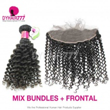 Lace Frontal With 3 Bundles Standard Virgin Malaysian Deep Curly Human Hair Extensions