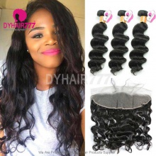Lace Frontal With 3 Bundles Standard Virgin Burmese Loose Wave Human Hair Extensions