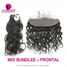 Lace Frontal With 3 Bundles Standard Virgin Indian Natural Wave Human Hair Extensions