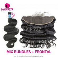 Lace Frontal With 3 Bundles Peruvian Body Wave Royal Virgin Human Hair Extensions