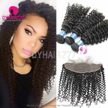 Lace Frontal With 3 Bundles Royal Virgin Peruvian Deep Curly Human Hair Extensions