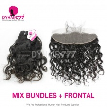 13*4 Lace Frontal With 3 Bundle Royal Virgin European Natural Wave Human Hair Extensions
