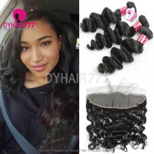 Lace Frontal With 3 Bundles Royal Virgin Malaysian Loose Wave Human Hair Extensions