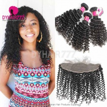 Lace Frontal With 3 Bundles Royal Virgin Malaysian Deep Curly Human Hair Extensions